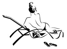 Rest on a sunbed. Vector image of a girl resting on a sunbed Stock Photography