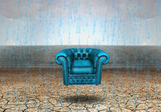 Rest. Surrealism. Blue armchair in arid land. This image created in entirety by me from my own images and is entirely legal for me to sell and distribute Royalty Free Stock Photos