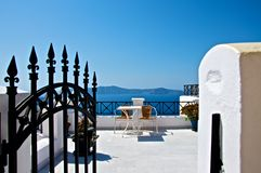 Rest on the terrace. Small terrace located on the slope of the mountain of the island is always available to weary travelers. Here you can always comfortably Stock Images