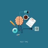 Rest time brain creative flat web concept Royalty Free Stock Images