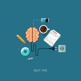 Rest time brain creative flat web concept. Rest time brain have a rest creative flat web infographic online service application internet business concept vector Stock Illustration