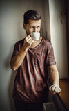 Rest time with cup of coffee. Stock Photos