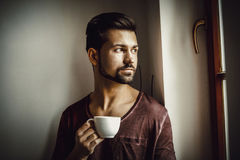 Rest time with cup of coffee. Stock Image