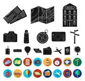Rest and travel black,flat icons in set collection for design. Transport, tourism vector symbol stock web illustration. Rest and travel black,flat icons in set vector illustration