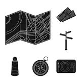 Rest and travel black icons in set collection for design. Transport, tourism vector symbol stock web illustration. Rest and travel black icons in set collection Royalty Free Stock Photo