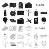 Rest and travel black icons in set collection for design. Transport, tourism vector symbol stock web illustration. Rest and travel black icons in set collection vector illustration