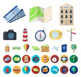 Rest and travel cartoon,flat icons in set collection for design. Transport, tourism vector symbol stock web illustration. Rest and travel cartoon,flat icons in royalty free illustration