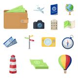 Rest and travel cartoon icons in set collection for design. Transport, tourism vector symbol stock web illustration. Rest and travel cartoon icons in set Royalty Free Stock Images