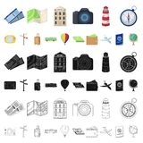 Rest and travel cartoon icons in set collection for design. Transport, tourism vector symbol stock web illustration. Rest and travel cartoon icons in set stock illustration