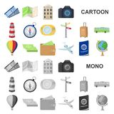 Rest and travel cartoon icons in set collection for design. Transport, tourism vector symbol stock web illustration. Rest and travel cartoon icons in set vector illustration
