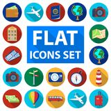 Rest and travel flat icons in set collection for design. Transport, tourism vector symbol stock web illustration. Rest and travel flat icons in set collection Royalty Free Stock Images
