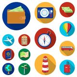 Rest and travel flat icons in set collection for design. Transport, tourism vector symbol stock web illustration. Rest and travel flat icons in set collection Royalty Free Stock Photography