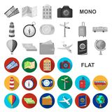 Rest and travel flat icons in set collection for design. Transport, tourism vector symbol stock web illustration. Rest and travel flat icons in set collection stock illustration