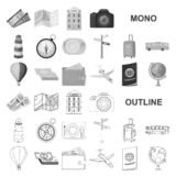 Rest and travel monochrom icons in set collection for design. Transport, tourism vector symbol stock web illustration. Rest and travel monochrom icons in set vector illustration