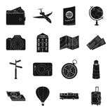 Rest and travel set icons in black style. Big collection of rest and travel vector symbol stock illustration Royalty Free Stock Photos