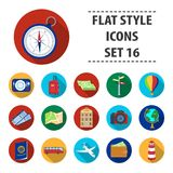 Rest and travel set icons in flat style. Big collection of rest and travel vector symbol stock illustration Royalty Free Stock Photo