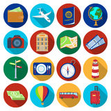 Rest and travel set icons in flat style. Big collection of rest and travel vector symbol stock illustration Stock Images