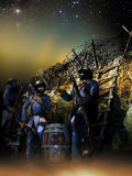 Rest into the trenches. French soldiers into the trenches, at night, during the first world war Royalty Free Stock Photography
