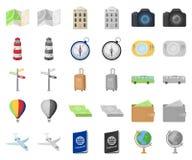 Rest- und Reisekarikatur, monochrom Ikonen in gesetzter Sammlung für Entwurf r stock abbildung