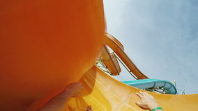 Rest in the water park, a quick descent from the water slide. POV video stock video