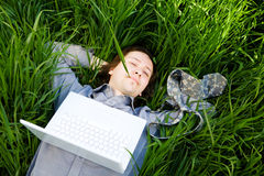 Rest With Laptop Stock Photo