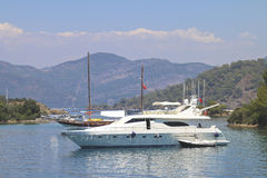 Rest on a yacht near the island. Royalty Free Stock Photography