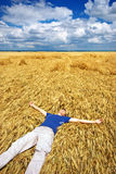 Rest in yellow meadow Royalty Free Stock Photo