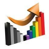 Restablecer una ilustración del gráfico de barra del beneficio de asunto ilustración del vector