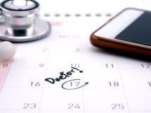 Restante da nomeação do doutor no calendário Fotografia de Stock Royalty Free