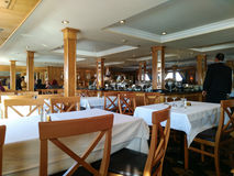 Restaraunt in Egyptian cruise ship is just opened for visitors i. N the morning royalty free stock images