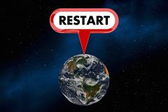 Restart Earth Planet Space Environment 3d Illustration Stock Photos
