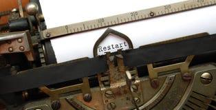 Restart, old typewriter royalty free stock images