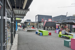 Restart or Re:START Mall, an outdoor retail space consisting of shops and stores in shipping containers. Christchurch, New Zealand - February 2016: Restart or Re Royalty Free Stock Photo