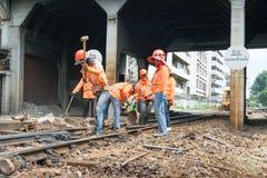 Restauração as trilhas de estrada de ferro Imagem de Stock Royalty Free