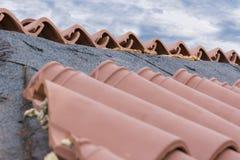Restauração do telhado da casa Foto de Stock