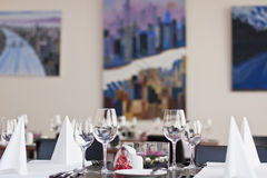 Restauraant table setup Royalty Free Stock Images