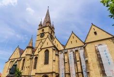 Restauración de la basílica en Sibiu, en Rumania Foto de archivo