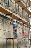 Restauración de la fachada vieja de la casa Imagen de archivo
