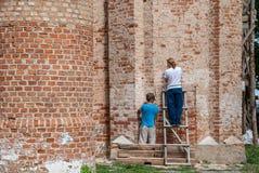 Restauración de la iglesia ortodoxa vieja Fotografía de archivo