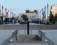 Restauración del centro de ciudad con el nuevo parque Imagen de archivo libre de regalías