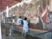 Restauración del mural en el palacio magnífico Foto de archivo libre de regalías