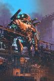 Restauración del robot gigante viejo en fábrica abandonada ilustración del vector