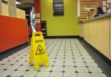 Restauraci podłoga Mokry znak Fotografia Royalty Free