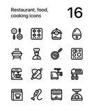 Restauracja, jedzenie, kulinarne ikony dla sieci i mobilna projekt paczka 3, zdjęcia stock