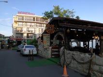 Restauracja na Czarnym Dennym wybrzeżu Pomorie, Bułgaria Zdjęcie Stock