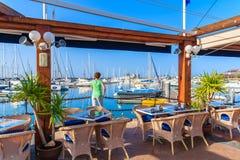 Restauracja stoły w Rubicon porcie Zdjęcie Royalty Free