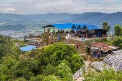 Restauracja taras na tle góra w Pokhara Zdjęcia Royalty Free