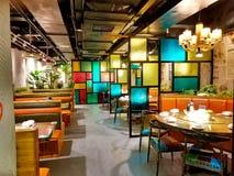 Restauracja z coloured szklanym rozdziałem zdjęcie royalty free