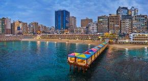 Restauracje w Stanley plaży, Aleksandria, Egipt zdjęcia stock