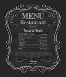 Restauracyjna ręka rysujący menu blackboard rocznika etykietki ramowy wektor ilustracja wektor
